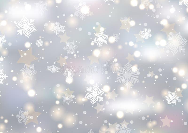 Kerstmisachtergrond van sneeuwvlokken en sterren royalty-vrije illustratie