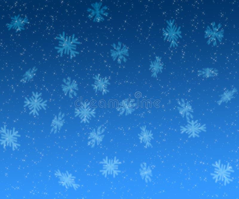 Kerstmisachtergrond van sterren en van sneeuwvlokken stock illustratie