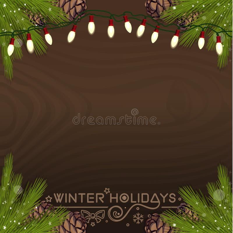 Kerstmisachtergrond voor de wintervakantie royalty-vrije illustratie