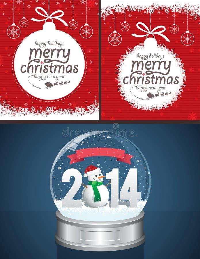 Kerstmisachtergronden en Sneeuwbol royalty-vrije illustratie