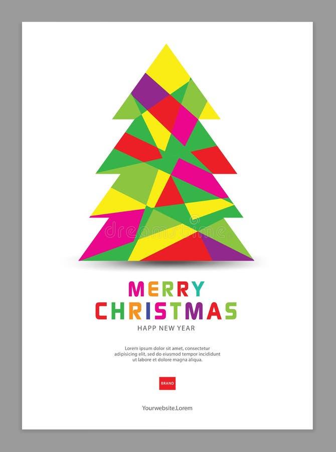 Kerstmisaffiche, prentbriefkaarmalplaatje, kaarten, vlieger, reclame, Kerstboomvector vector illustratie
