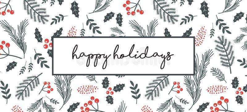 Kerstmisaffiche, vlieger, banner, groetkaart Kerstmispatroon met takjes, bloemen, bladeren op een witte achtergrond royalty-vrije illustratie