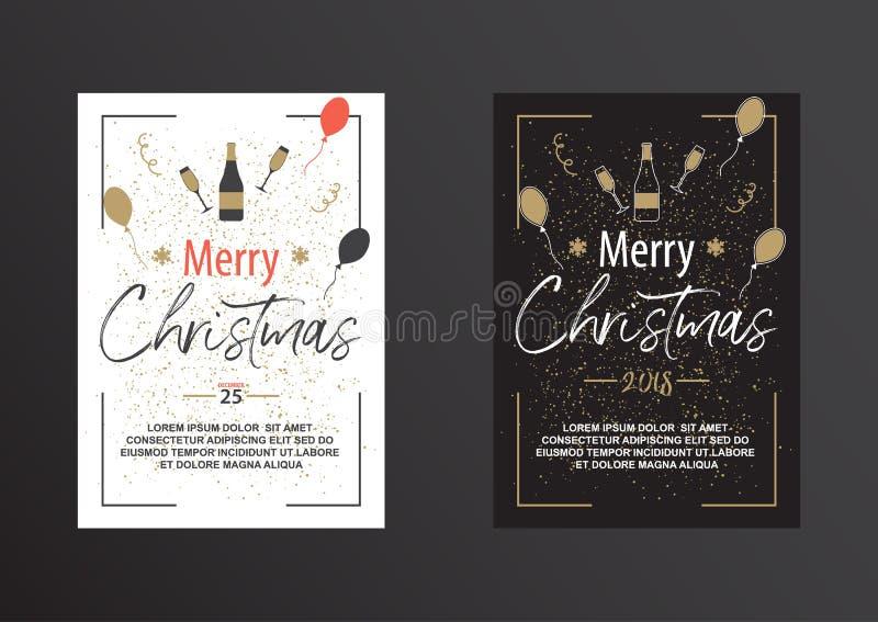 Kerstmisaffiche in zwart-wit royalty-vrije illustratie