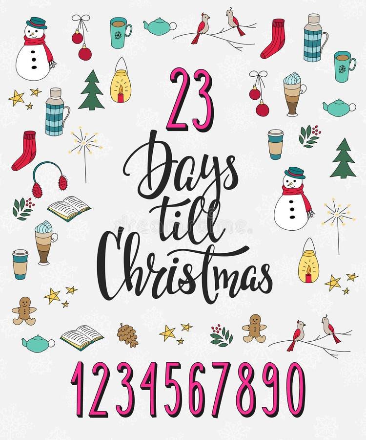Kerstmisaftelprocedure het van letters voorzien typografiereeks stock illustratie