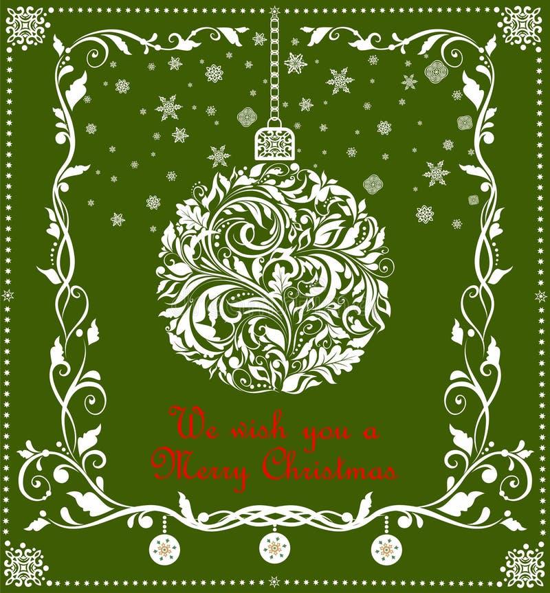 Kerstmisambacht die witte bal met document hangen die bloemenpatroon, sneeuwvlokken en grens voor seizoengebonden groeten snijden royalty-vrije illustratie