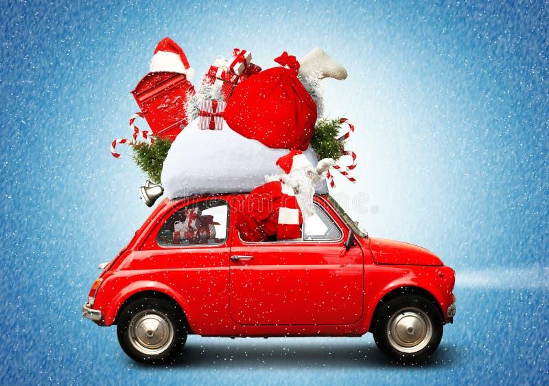 Kerstmisauto stock fotografie