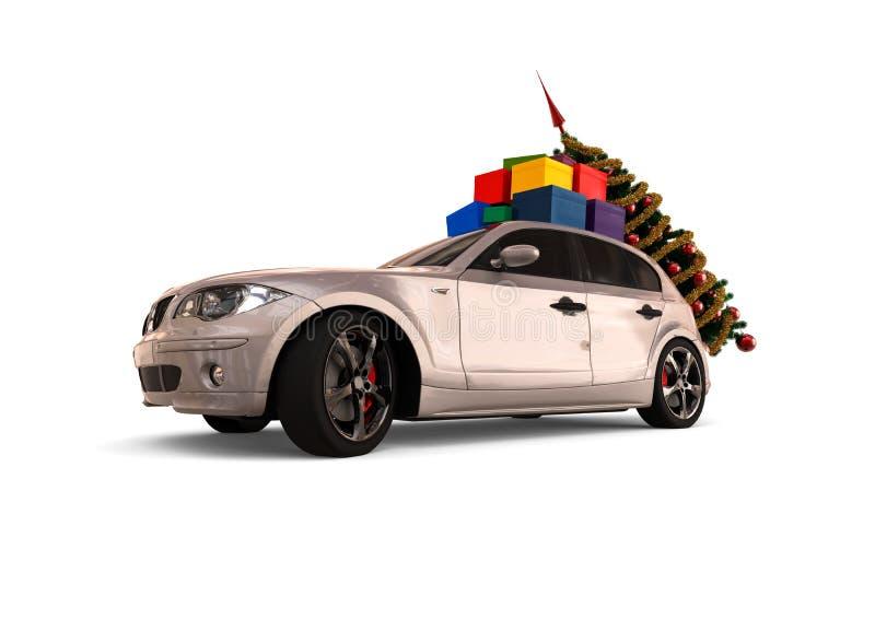 Kerstmisauto stock illustratie
