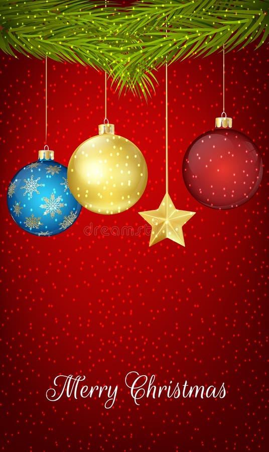 Kerstmisbal het hangen op pijnboomboom royalty-vrije illustratie