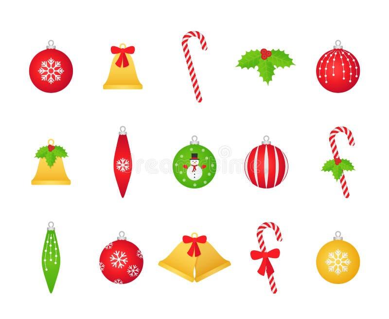 Kerstmisbal, klok, hulst, de reeks van het suikergoedriet Vector illustratie vector illustratie