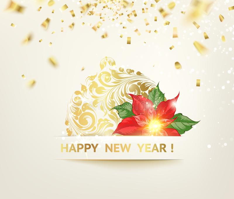 Kerstmisbal met krommen van lintconfettien Gouden confettiendalingen op de achtergrond Gelukkig nieuw jaar 2019 met rood stock illustratie