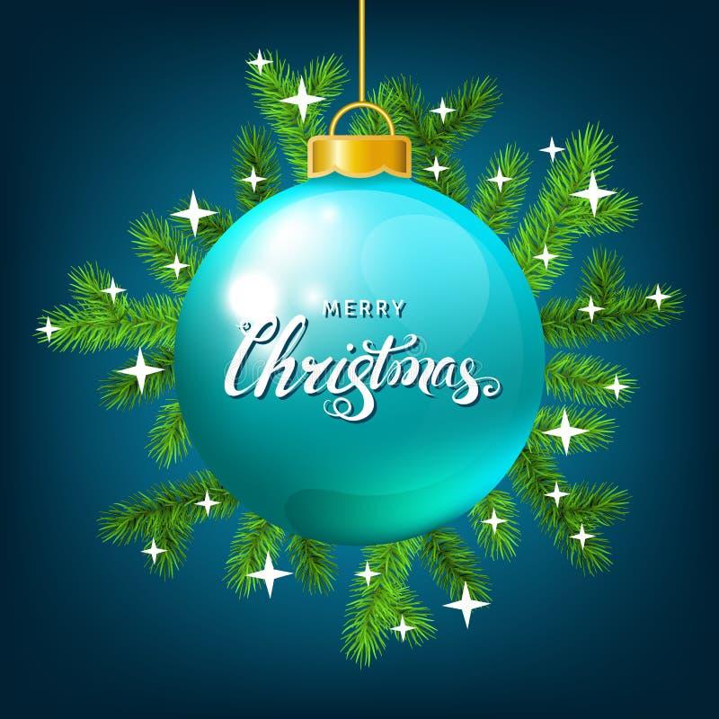 Kerstmisbal met nette tak, die op blauwe backgro van letters voorzien vector illustratie