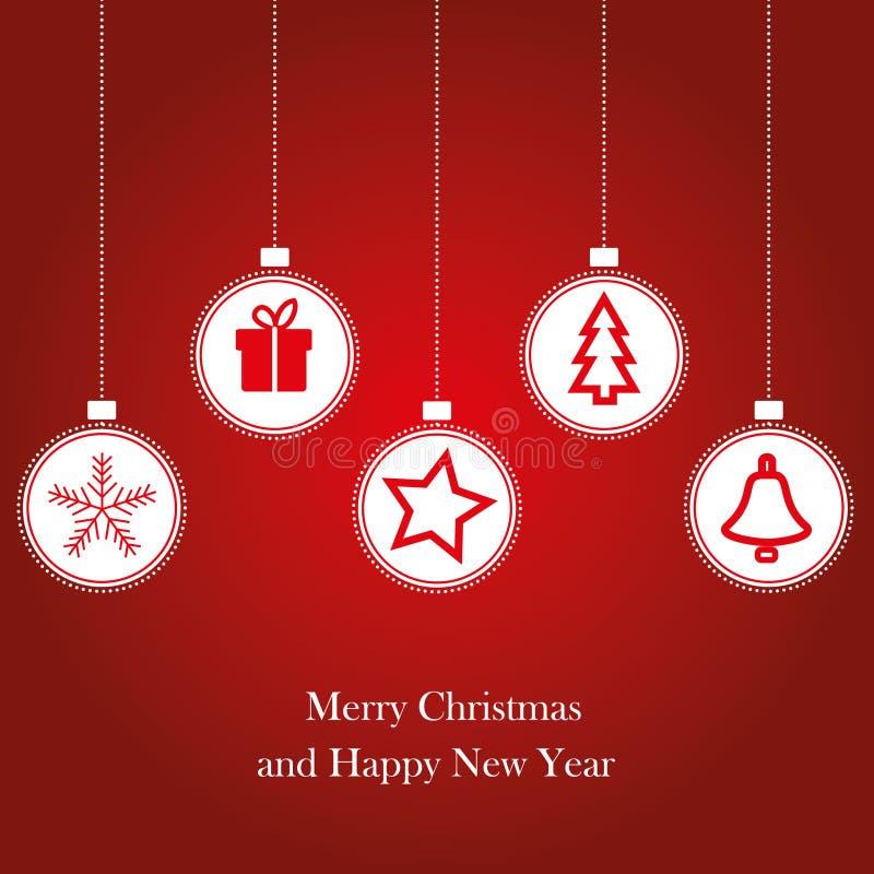 Kerstmisbal met ornamenten, zoals gift, sneeuwvlok, vector illustratie