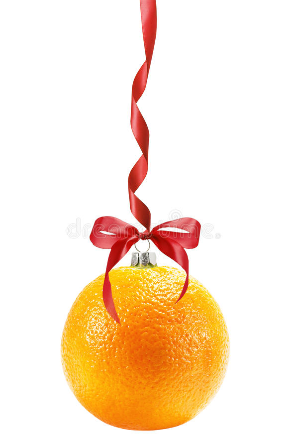 Kerstmisbal in vorm van sinaasappel op witte backgrou wordt geïsoleerd die royalty-vrije stock foto