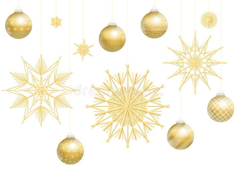 Kerstmisballen Gouden Straw Stars Decoration stock illustratie