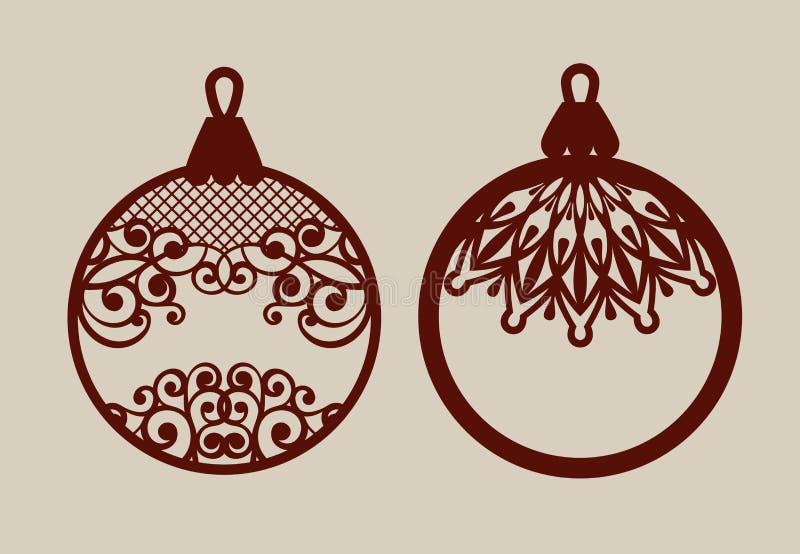 Kerstmisballen met kantpatroon royalty-vrije stock afbeelding