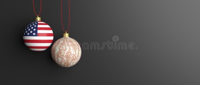 Kerstmisballen met militair die patroon en de vlag van de V.S. op zwarte achtergrond wordt geïsoleerd 3D Illustratie royalty-vrije illustratie