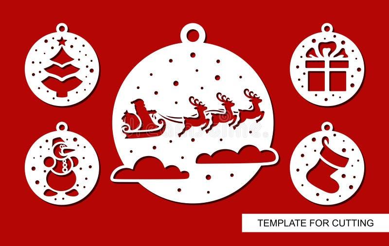 Kerstmisballen met vliegende Santa Claus, rendier, boom, sneeuwman, gift en sok stock illustratie