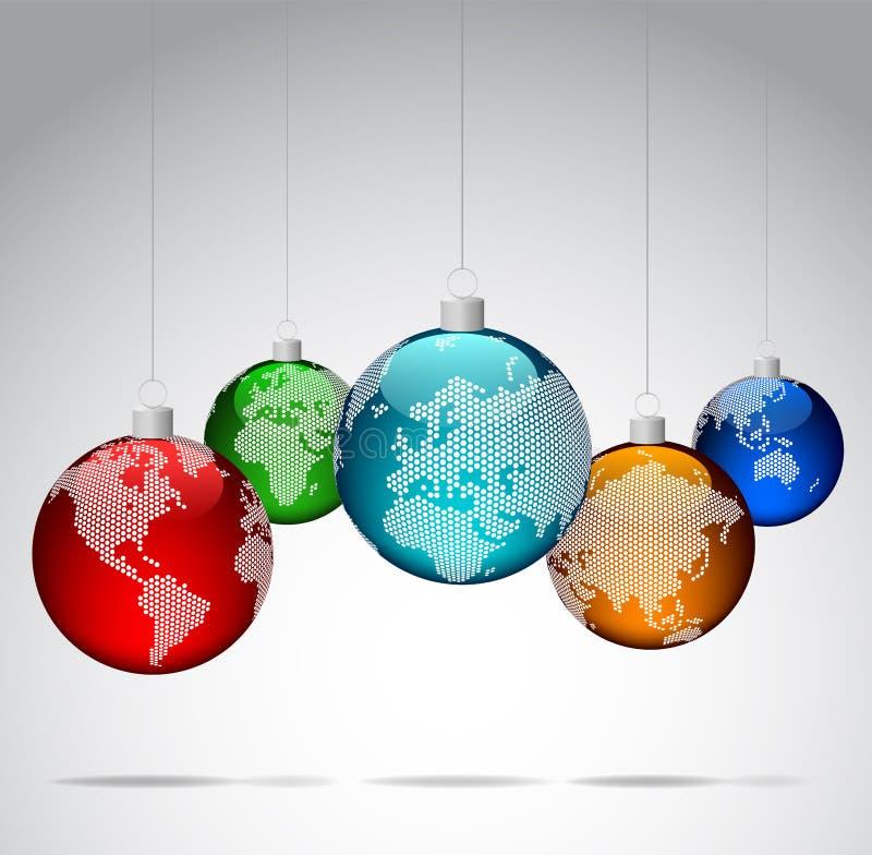 Kerstmisballen met wereld gestippelde kaarten stock illustratie