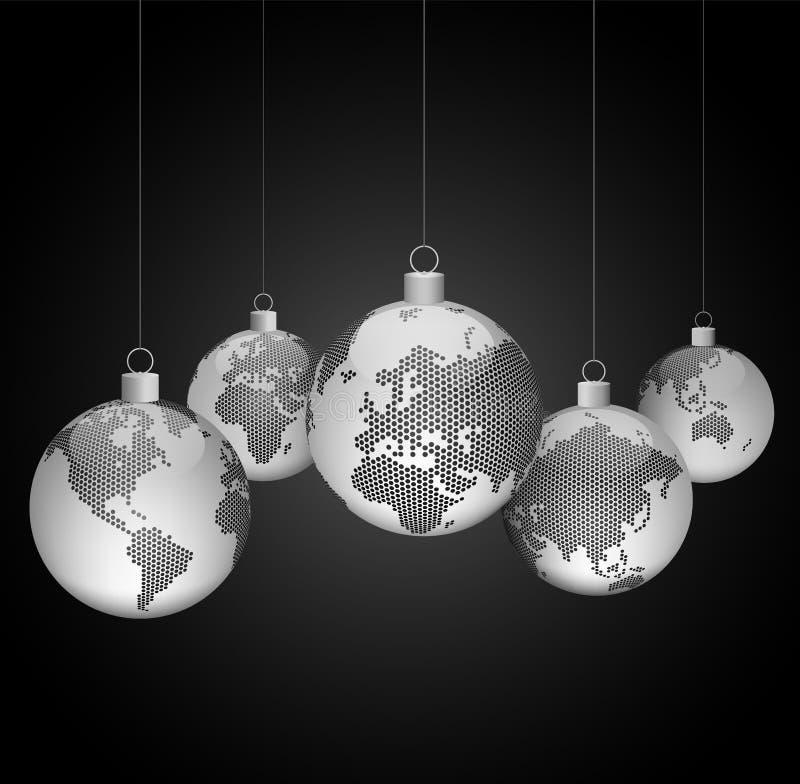 Kerstmisballen met wereld gestippelde kaarten vector illustratie
