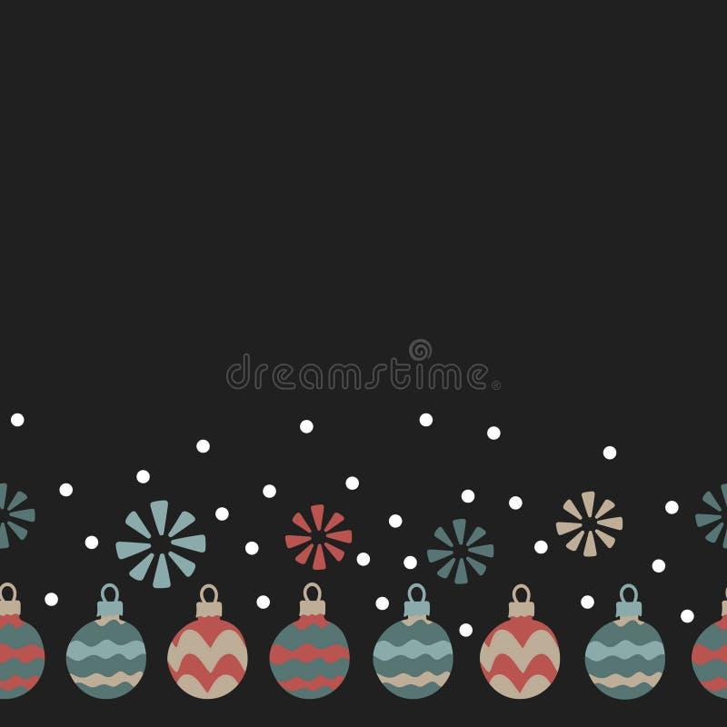 Kerstmisballen, sneeuwvlokken Naadloos patroon op donkere achtergrond Getrokken hand royalty-vrije illustratie