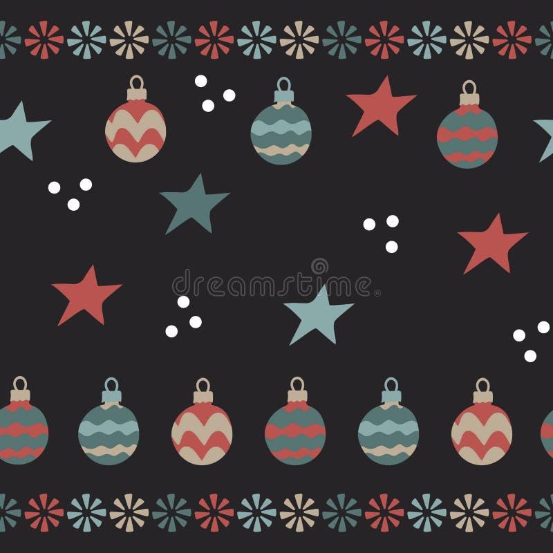 Kerstmisballen, sneeuwvlokken Naadloos patroon op donkere achtergrond royalty-vrije illustratie