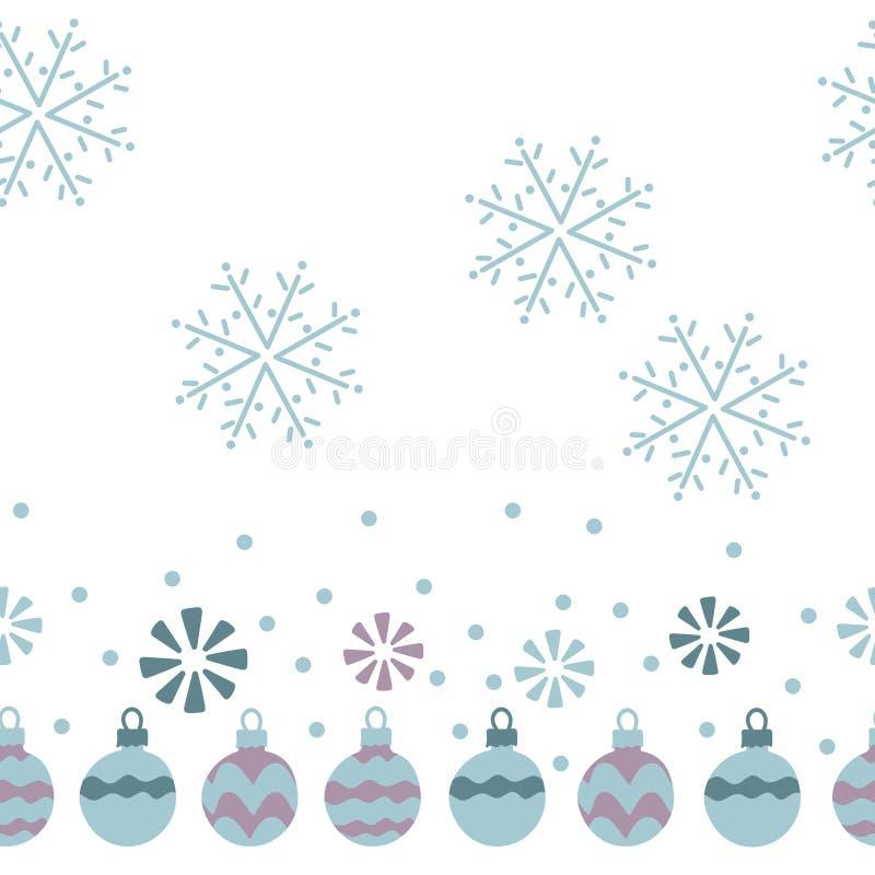 Kerstmisballen, sneeuwvlokken Naadloos patroon op witte achtergrond Getrokken hand vector illustratie