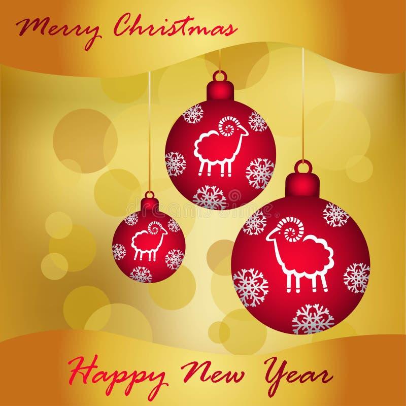 Kerstmisballen van Bourgondië op een gouden achtergrond, nieuwe jaargroet vector illustratie