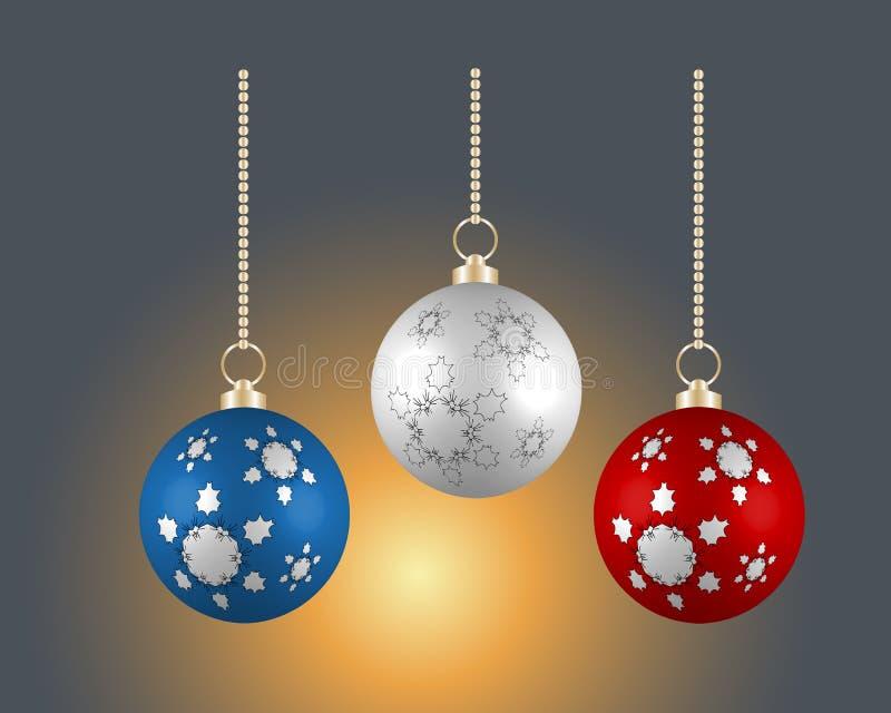 Kerstmisballen in verschillende kleuren op donkere achtergrond stock illustratie