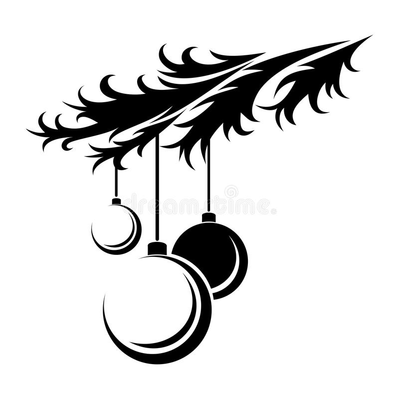 Kerstmisballen. Zwart silhouet. royalty-vrije illustratie