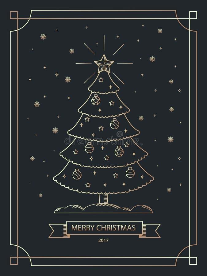 Kerstmisbanner in gouden overzichts lineaire stijl De Kerstman op een slee Vector illustratie vector illustratie
