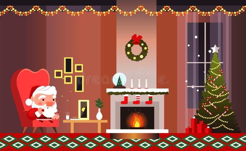 Kerstmisbanner met open haard en Santa Claus Santa Claus eet koekjes en drinkt melk stock illustratie