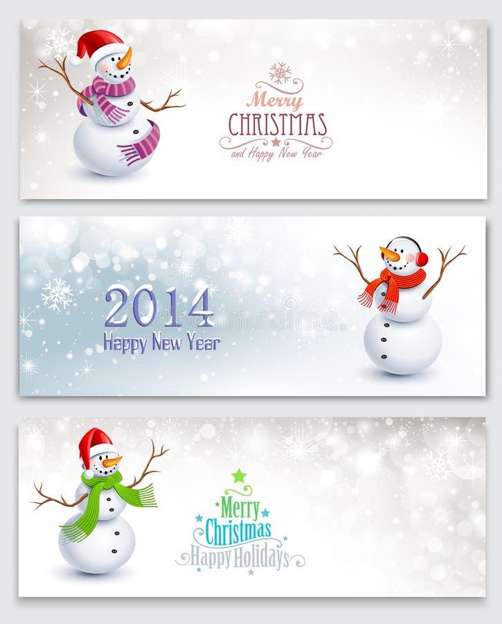 Kerstmisbanners met sneeuwmannen royalty-vrije illustratie