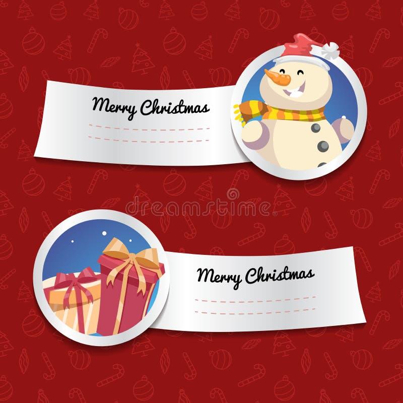 Kerstmisbanners op rode achtergrond met Kerstmissymbolen Lachende sneeuwman en giftdozen vector illustratie