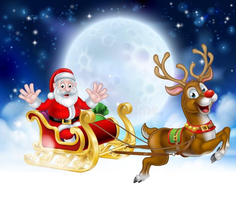 Kerstmisbeeldverhaal Santa Reindeer Sleigh Scene vector illustratie