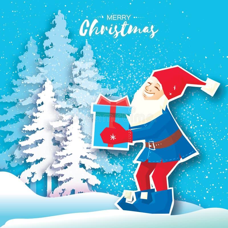 Kerstmisbeeldverhaal van Santa Claus die een Giftdoos met boog houden De document Gesneden Vrolijke kaart van de Kerstmisgroet De royalty-vrije illustratie