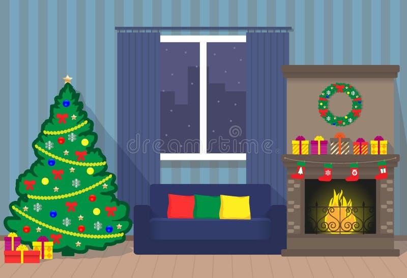 Kerstmisbinnenland met Kerstmisboom, open haard, bank, venster, kroon, giftdozen Vlakke stijlillustratie vector illustratie