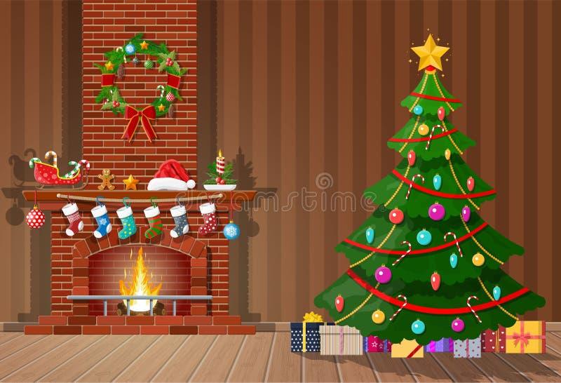 Kerstmisbinnenland van ruimte stock illustratie