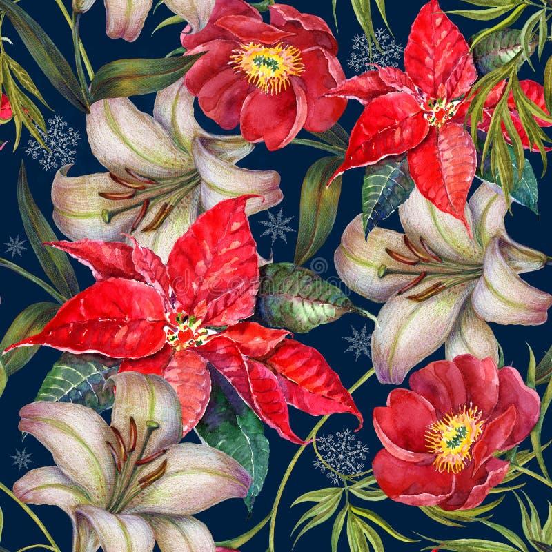 Kerstmisbloemen van het waterverfboeket op blauwe achtergrond Naadloos patroon voor ontwerp stock illustratie