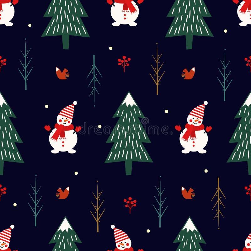 Kerstmisboom, sneeuwman, eekhoorn naadloos patroon op donkerblauwe achtergrond royalty-vrije illustratie