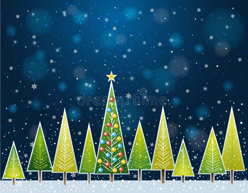 Kerstmisbos in de nacht, vector stock illustratie