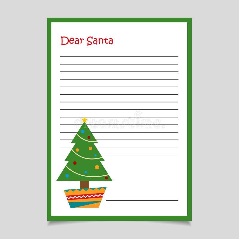Kerstmisbrief met Boom De beste brief van de Kerstman royalty-vrije illustratie