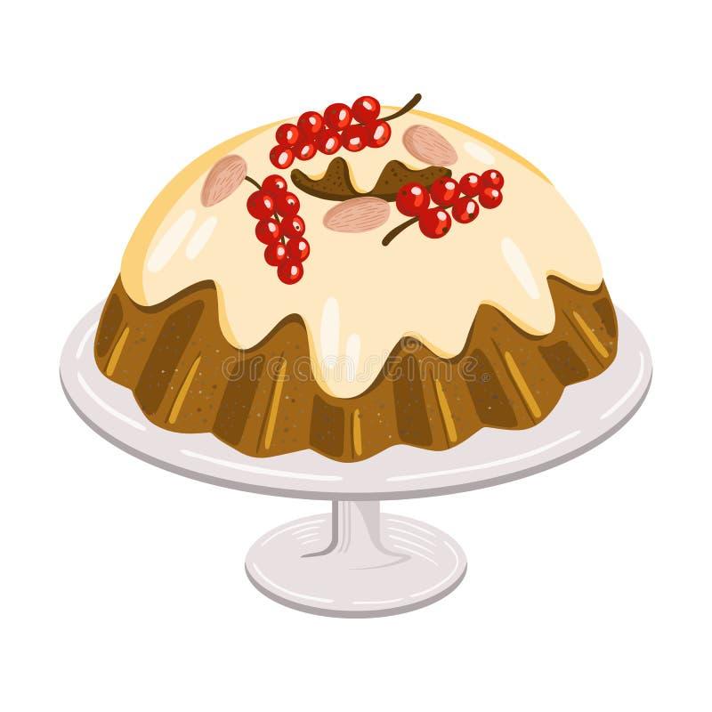 Kerstmiscake met bessen en noten op schotel, traditioneel zoet brood royalty-vrije illustratie