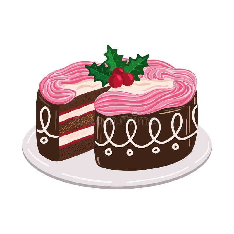 Kerstmiscake met de bessen van de hulstmaretak, traditionele zoete schotel met slagroom royalty-vrije illustratie
