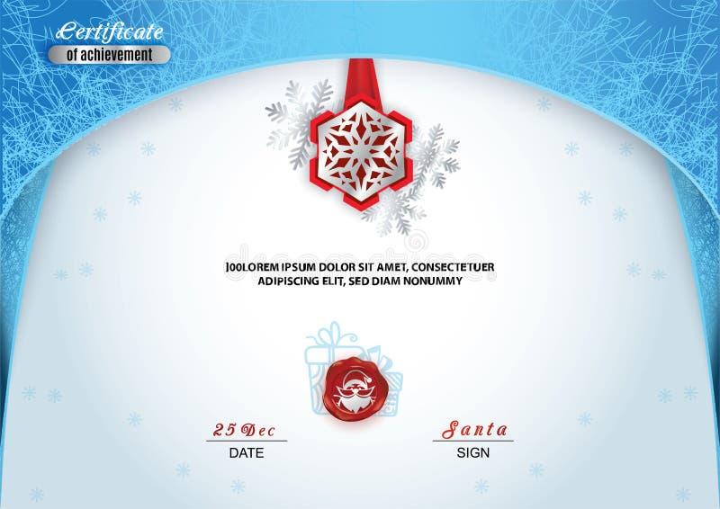 Kerstmiscertificaat Blauw grens en sneeuwvlokembleem, Zilveren portret van Kerstman op het rode wafeltje Heldere Kerstmis bevrore royalty-vrije illustratie
