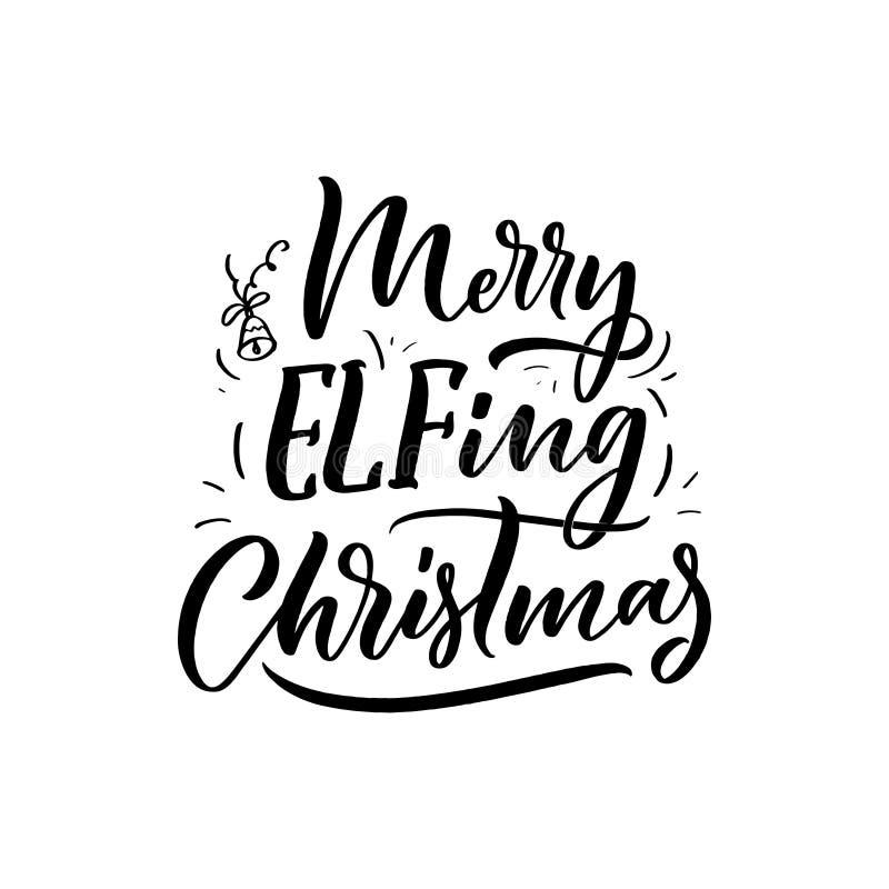 Kerstmiscitaat De slogan van de winterkerstmis Hand het getrokken kalligrafische van letters voorzien Inspirational tekst voor ui royalty-vrije illustratie