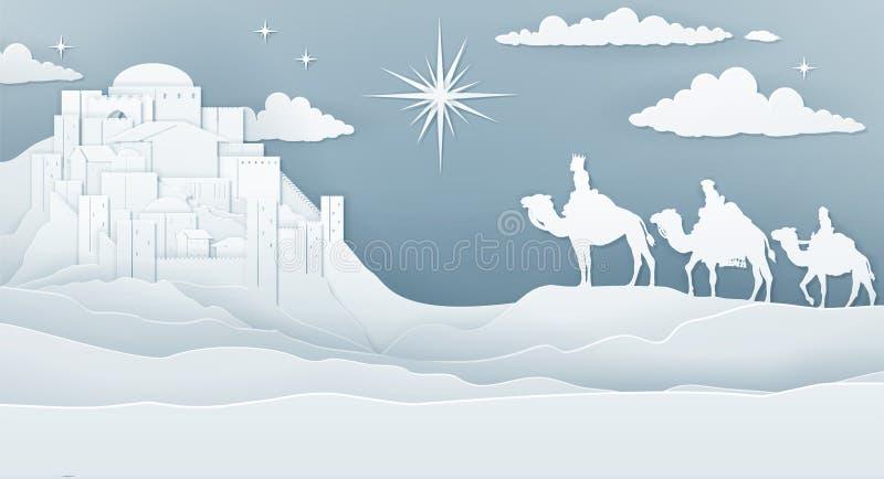 Kerstmisconcept van de wijzengeboorte van christus royalty-vrije illustratie
