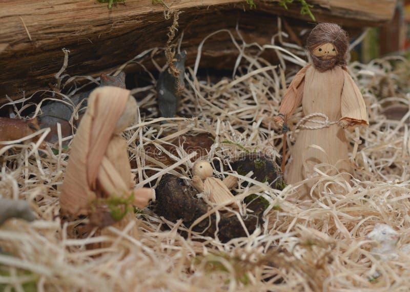 Kerstmiscrèche met Joseph Mary en Jesus stock fotografie