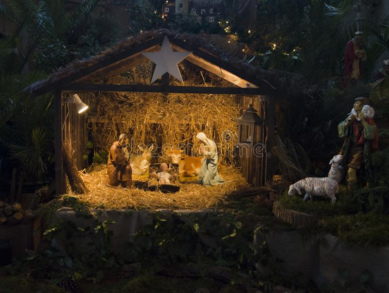Kerstmiscrèche met Joseph Mary en Jesus royalty-vrije stock afbeeldingen