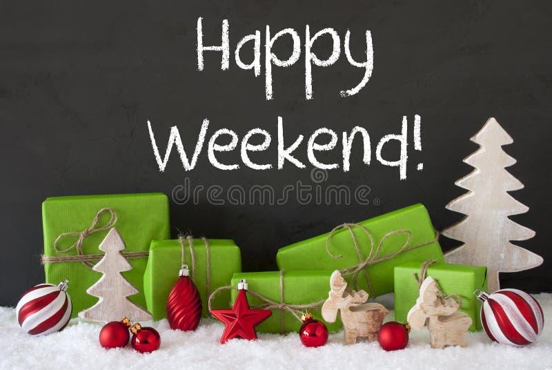Kerstmisdecoratie, Cement, Sneeuw, Tekst Gelukkig Weekend royalty-vrije stock afbeelding