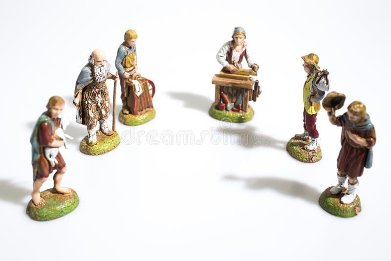 Kerstmisdecoratie, de standbeelden van de geboorte van Christusscène in whit royalty-vrije stock fotografie